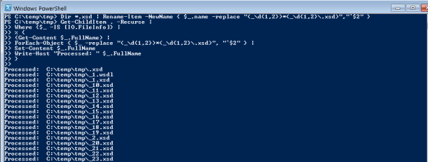 Powershell batch rename and replace